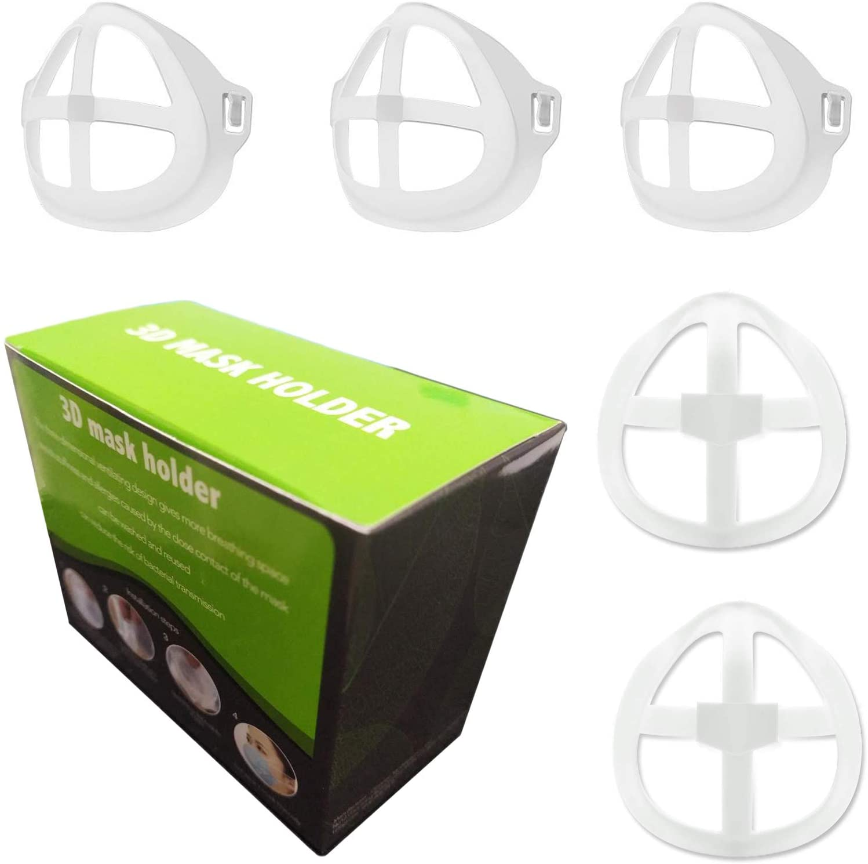 Mask Bracket Internal Support Frame - 3d Mask Bracket Protect Lipstick Lips for Comfortable Breathing Washable Reusable, Clear, 5 Pcs