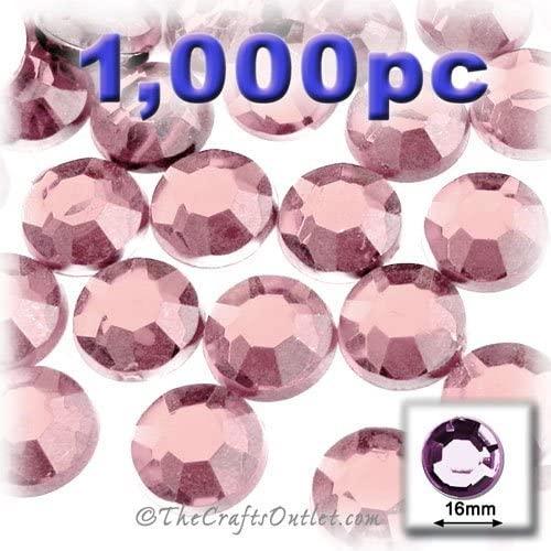 1,000pc Rhinestones Round 16mm - Flatback Light Rose Pink PNK