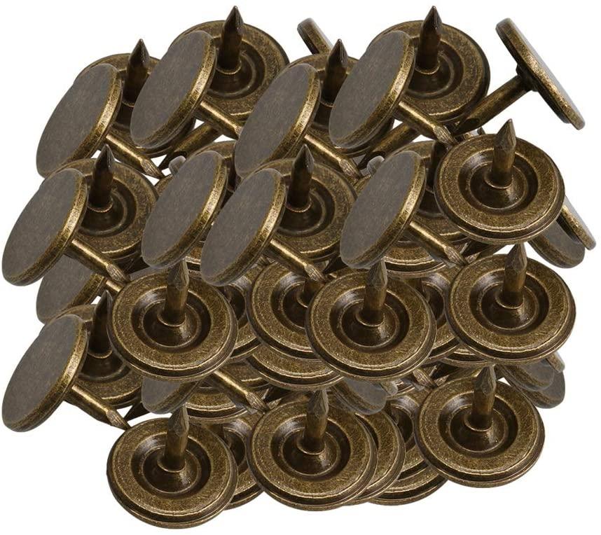 100pcs Furniture Nails Flat Head Nail Decorative Nail for Sofa Bronze 9x8mm