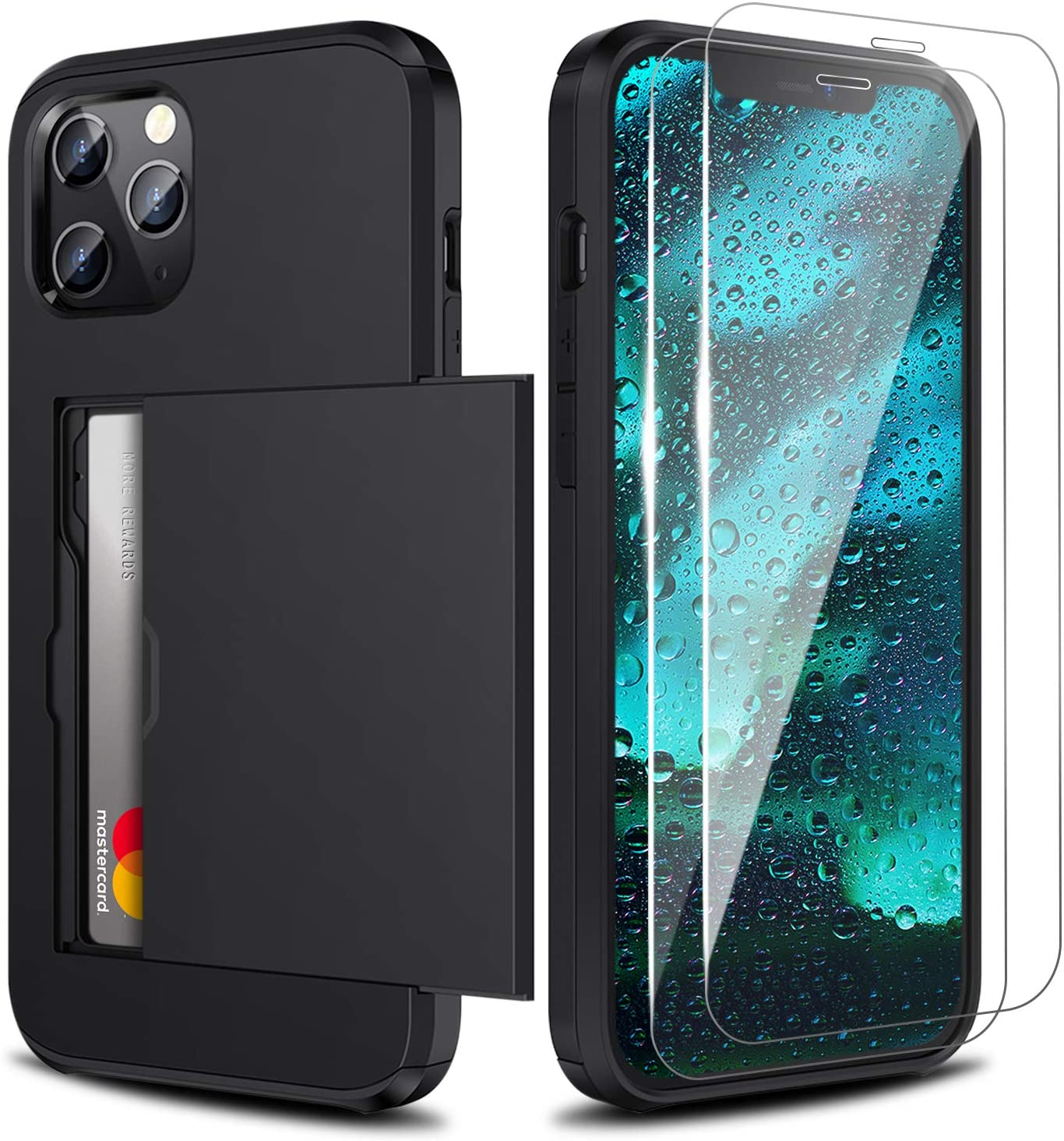 Zuslab Wallet case for iPhone 12 Pro Max with Card Holder Shockproof Anti Scratch Compatible with iPhone 12 Pro Max with Screen Protector[x2Pack] Black