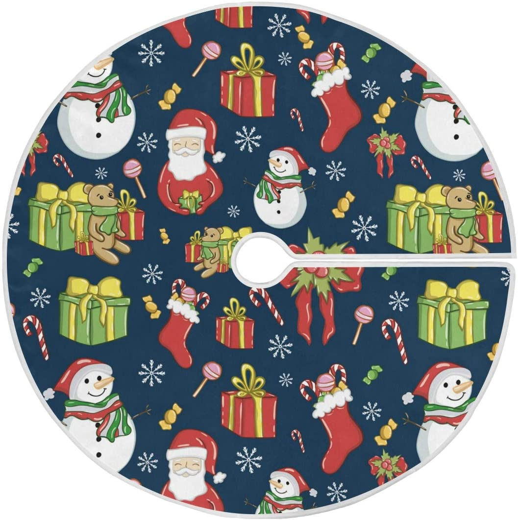 Moudou Christmas Tree Skirt Santa Claus Snowman Tree Skirt for Holiday Party Decoration 36 Inch