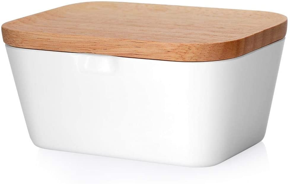 Goick Butter Box- Wooden Lid Storage Box Container Sealed Butter Box Butter Storage Box for Kitchen and Dining Room