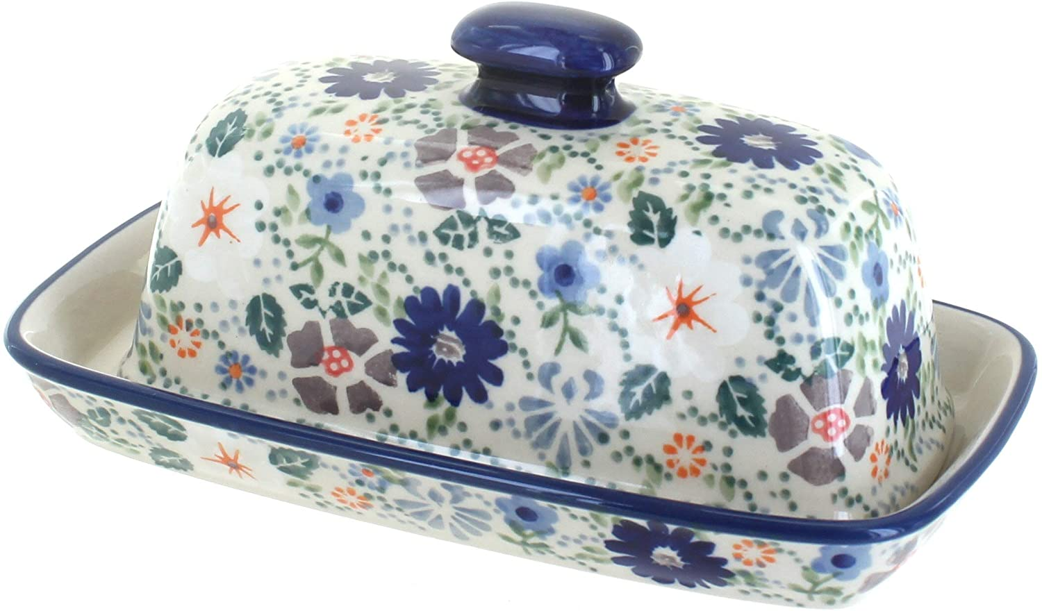 Blue Rose Polish Pottery Carnival Butter Dish