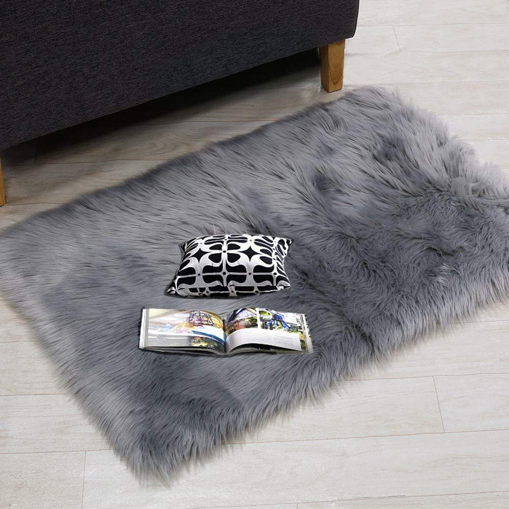 Supermee Gray Fur Rug Grey Rugs for Bedroom Grey Fuzzy Rug Grey Fluffy Rug Grey Furry Rug Grey Faux Fur Rug Grey Rug Sheepskin Rug for Girlsroom, Livingroom 2x3 Feet Rectangle (Grey)