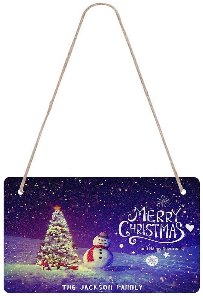 Custom Name Door Sign, Personalized Welcome Door Decoration Christmas Tree Snowman Indoor/Outdoor Artwork Prints Door & Wall Decor Wooden Door Hanging Sign for Christmas Birthday
