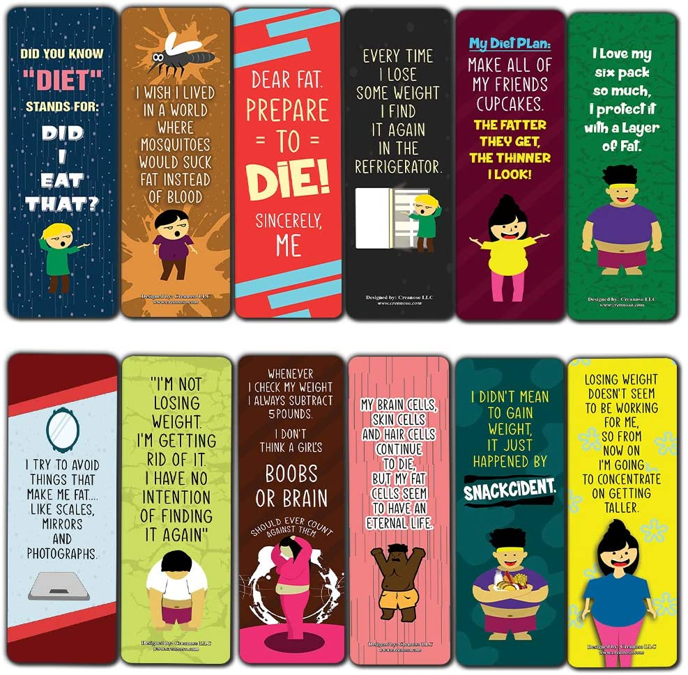 Funny Weight Loss Sayings Bookmarks (12-Pack) - Unique Teacher Stocking Stuffers Gifts for Boys, Girls, Kids, Teens, Students - Book Reading Clipperss