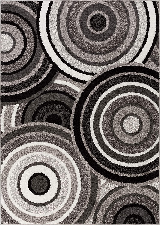 HOMEWAY Pattern Rugs - Ring Design Modern Area Rug Blue 7'10
