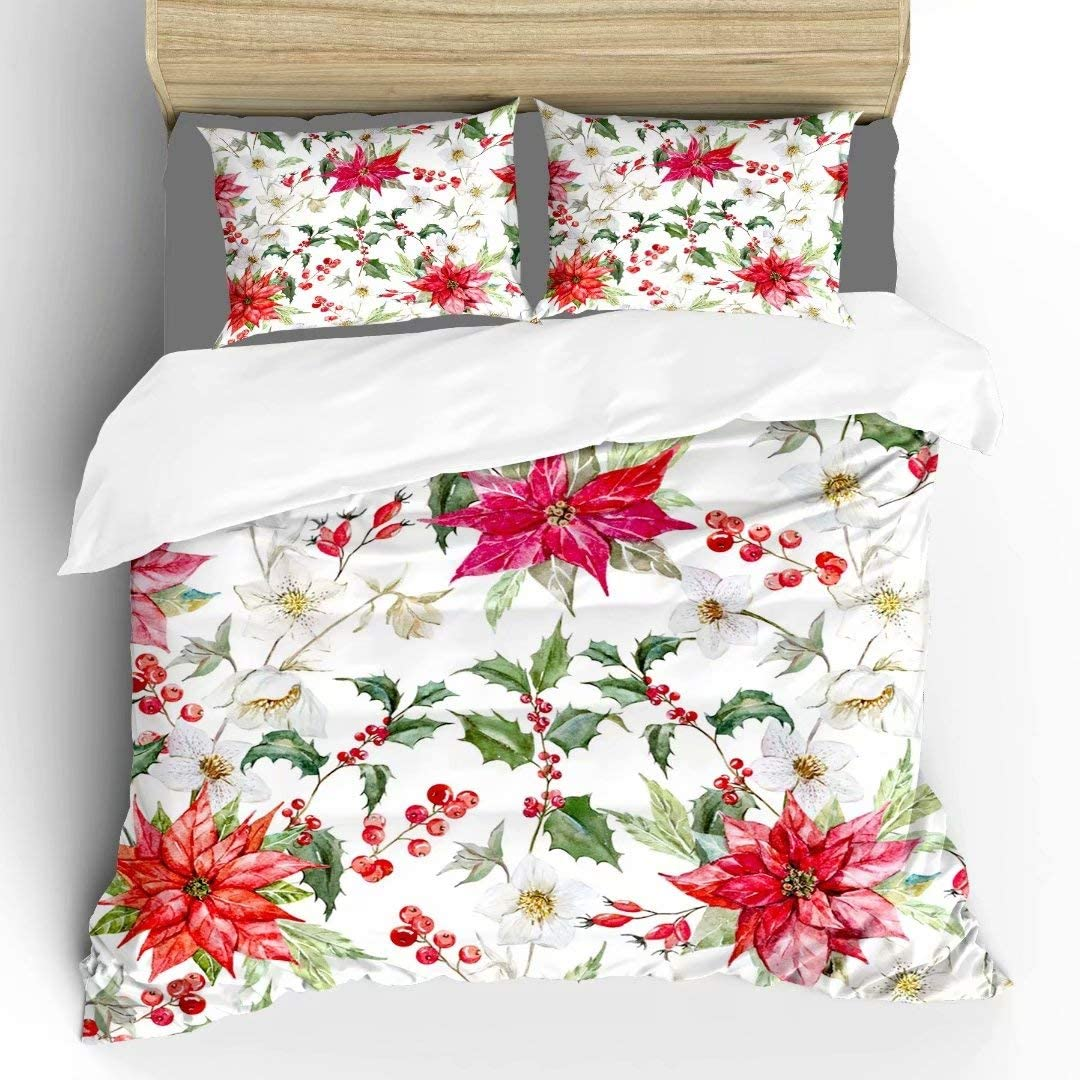 Pattson Super Watercolor Christmas Hellebore Flowers, Poinsettia, Red Berries Soft Comfortable Fabric Bedding Duvet Cover King 3 Piece Set, Quilt Cover 104x90 and 2 Pillow Shams 36x20