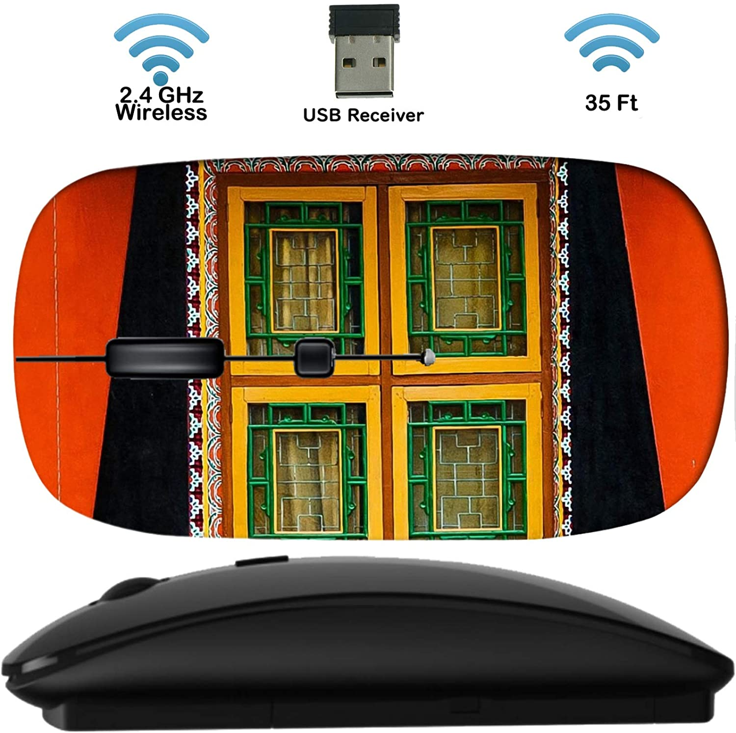 Wireless Mouse Computer Mice Black Base 2.4G with USB Receiver, Cordless Portable and Silent Click with 1000 DPI for Notebook PC Laptop Computer Macbook IMAGE of architecture decoration wall old house