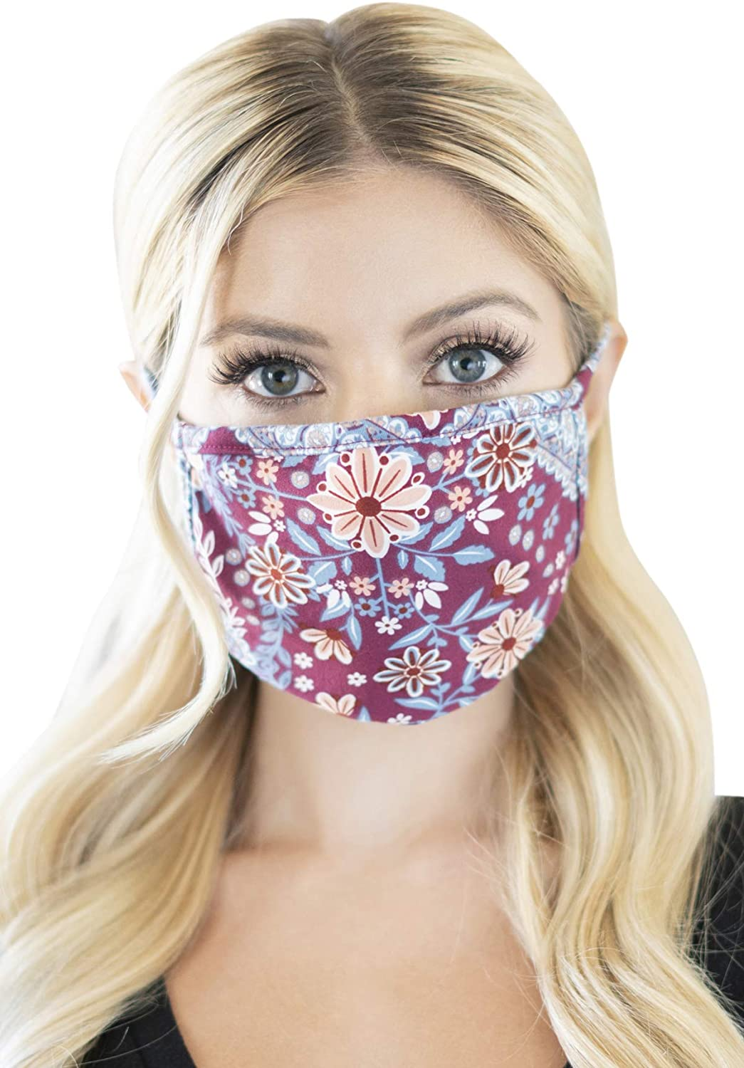 Reusable Fabric Face Mask Round Covering Filter Insertable Pocket Unisex - Washable Breathable Print Cloth Mouth Shield Protection Comfy Men Women (Filter Pocket/Round - Paisley Floral Burgundy)