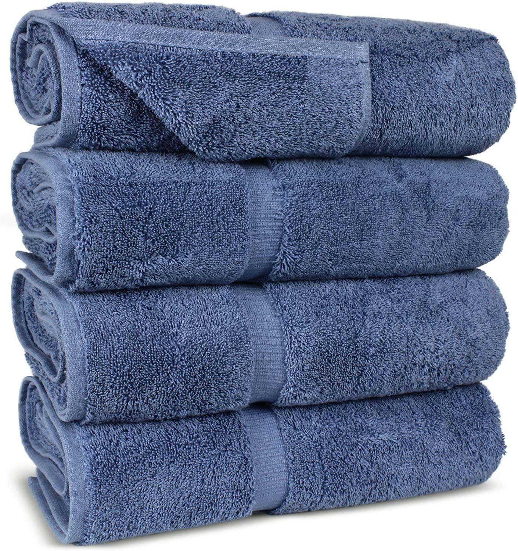 FTB Classic Bath Towels Set 4 Piece 27X54 Inches Bath Towels (Wedgewood, 4 Bath Towels)