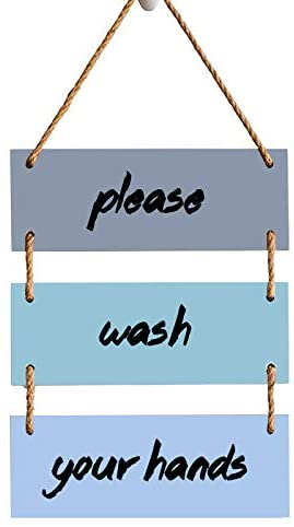 PaBoe Please Wash Your Hands 3-Pieces Wood Sign Hanging Sign Decor