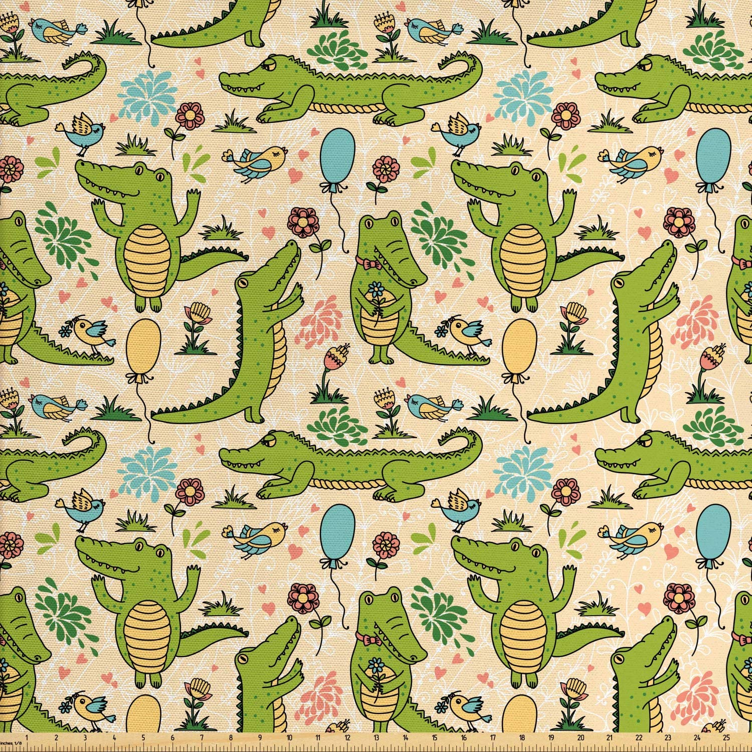 Lunarable Alligator Fabric by The Yard, Happy Party with Dancing Crocodiles Flower Field and Balloons Birthday Cartoon, Decorative Fabric for Upholstery and Home Accents, 3 Yards, Green Peach