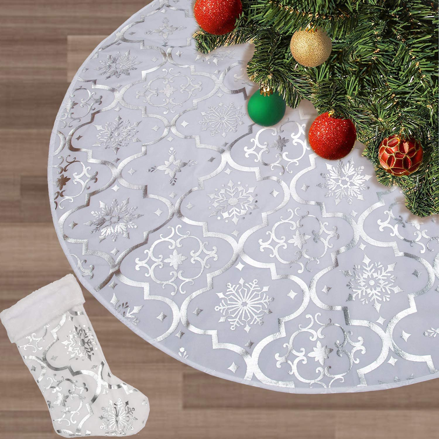 FLASH WORLD Christmas Tree Skirt,48 inches Large Xmas Tree Skirts with Snowy Pattern for Christmas Tree Decorations (White)