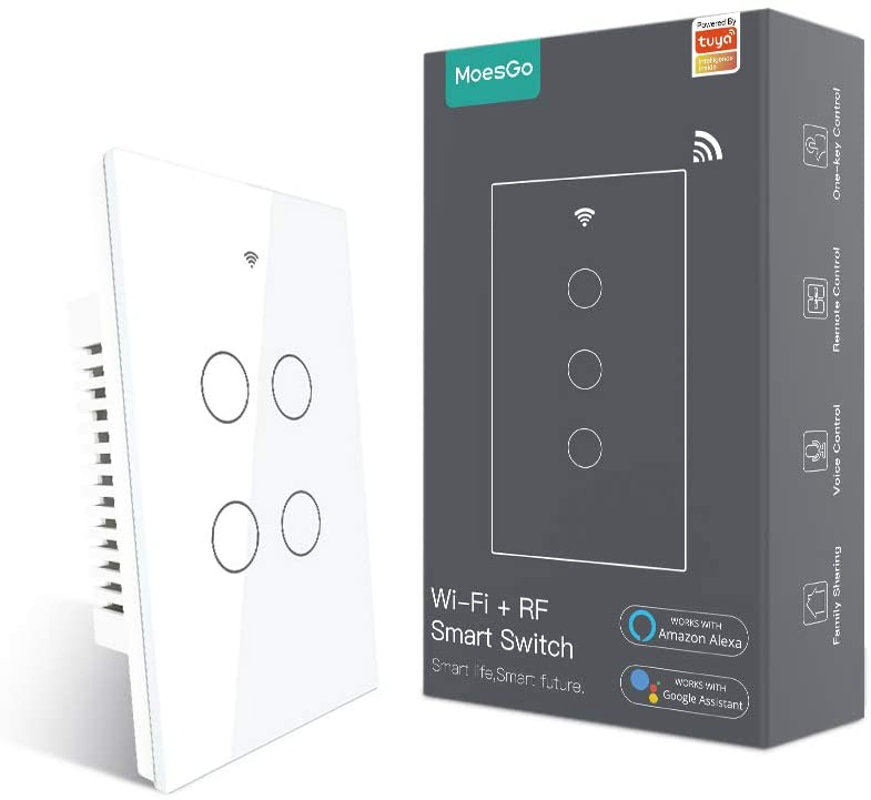 MoesGo WiFi Smart Touch Wall Switch with Single Pole or 3 Way Multi-Control Association, Relay Status Optional,Work with Smart Life/Tuya App,RF433 Remote Control,Alexa and Google Home White 4 Gang