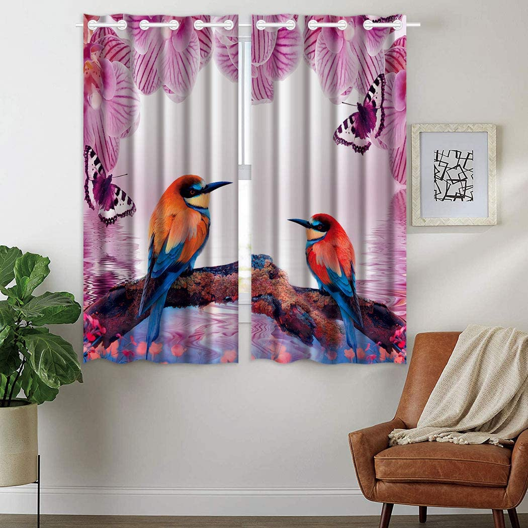 SXCHEN W28 x L48 Inch Blackout Curtains 2 Panels Grommet Curtains for Bedroom Purple Phalaenopsis Butterfly Red Bird