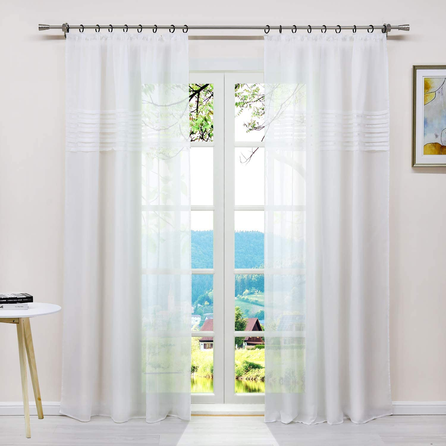 Yujiao Mao Sheer Window Curtains Voile Panels for Small Windows, Kitchen, Living Room and Bedroom,1pc(White,W54 x L54 inch)
