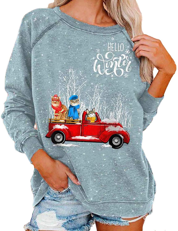 Christmas Tie-dye Printed Womens Sweatshirts,Pottseth Crewneck Long Sleeve Shirt Pullover Casual Holiday Blouses Tops
