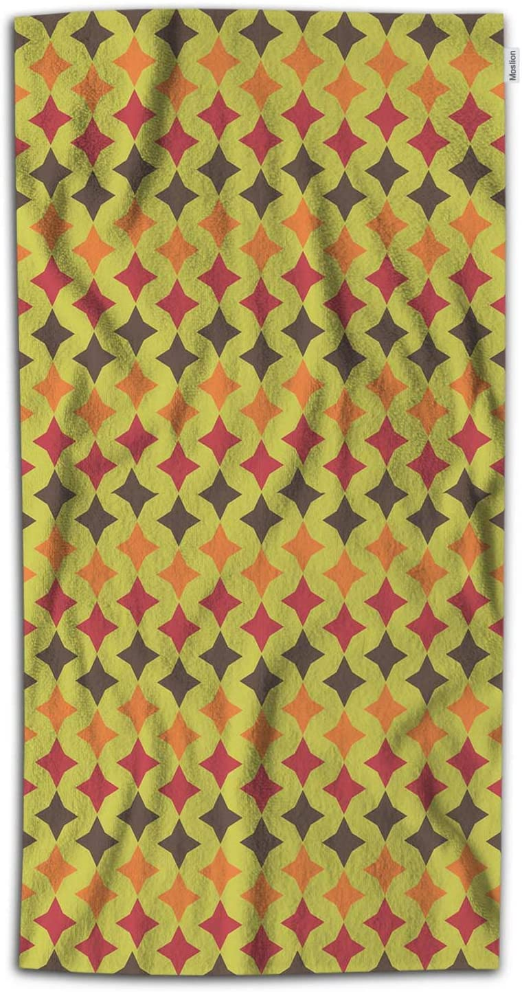 Moslion Star Bath Towel Vintage Twinkle Four-Sided Stars in Night Sky Towel Soft Microfiber Baby Hand Beach Towel for Kids Bathroom 32x64 Inch Green Brown Orange Red