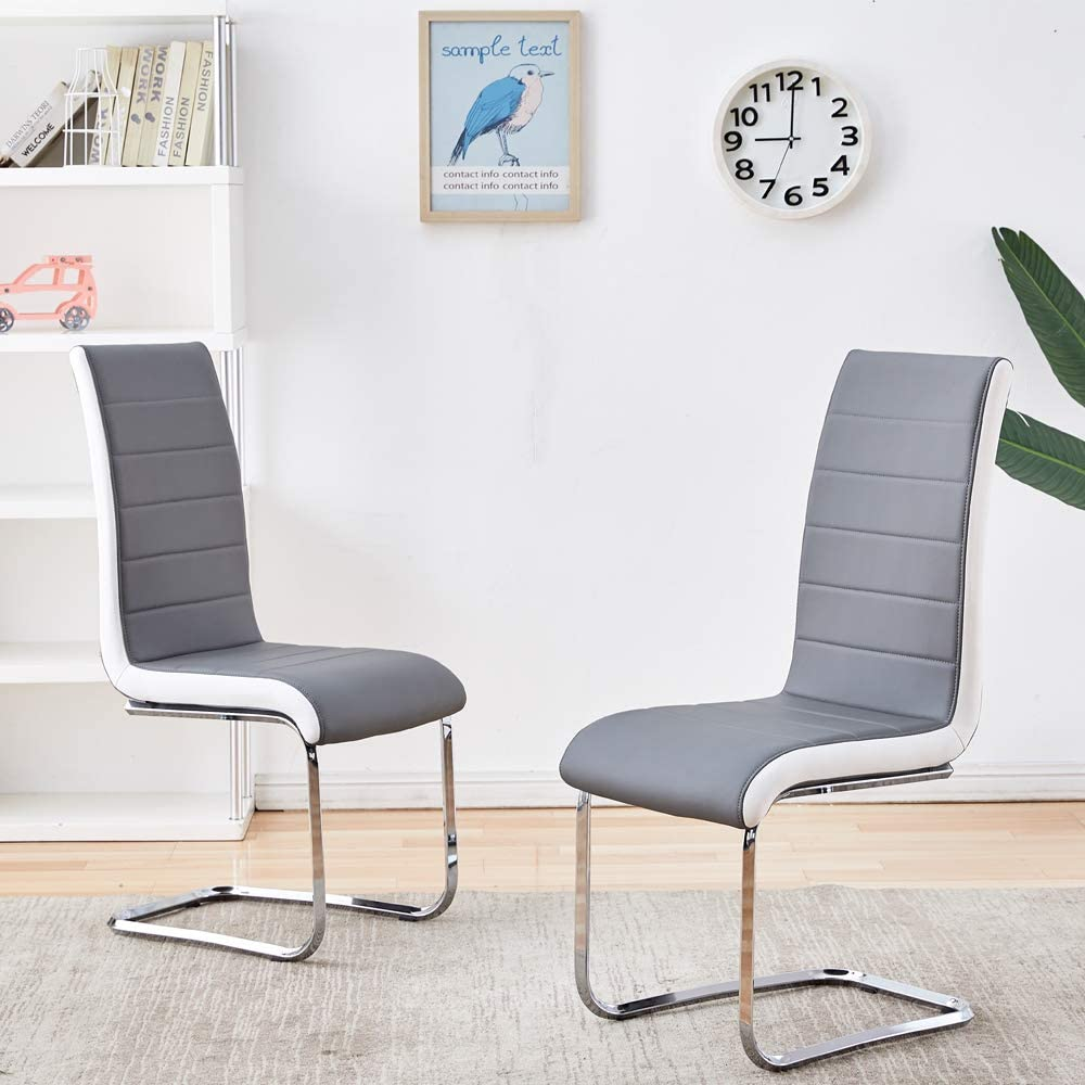 Modern Dining Chairs with Chrome Loop Legs Design, Comfortable Kitchen Chairs with Faux Leather Padded Seat for Kitchen, Living, Bedroom, Dining Room Side Chairs Set of 2 (Gray)