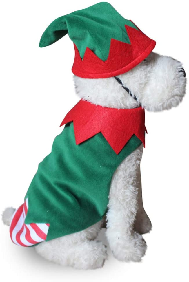 Balacoo Christmas Dog Costume Xmas Elf Hat Outfit Small Pets Apparel Christmas Party Dress Up for Puppy Kitten Small Dog Cat Size S