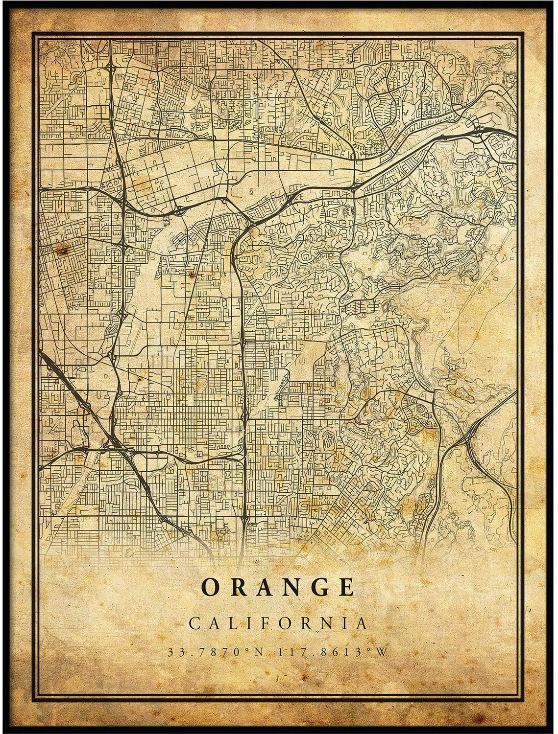 Orange map Vintage Style Poster Print | Old City Artwork Prints | Antique Style Home Decor | California Wall Art Gift | Old map Poster 18x24