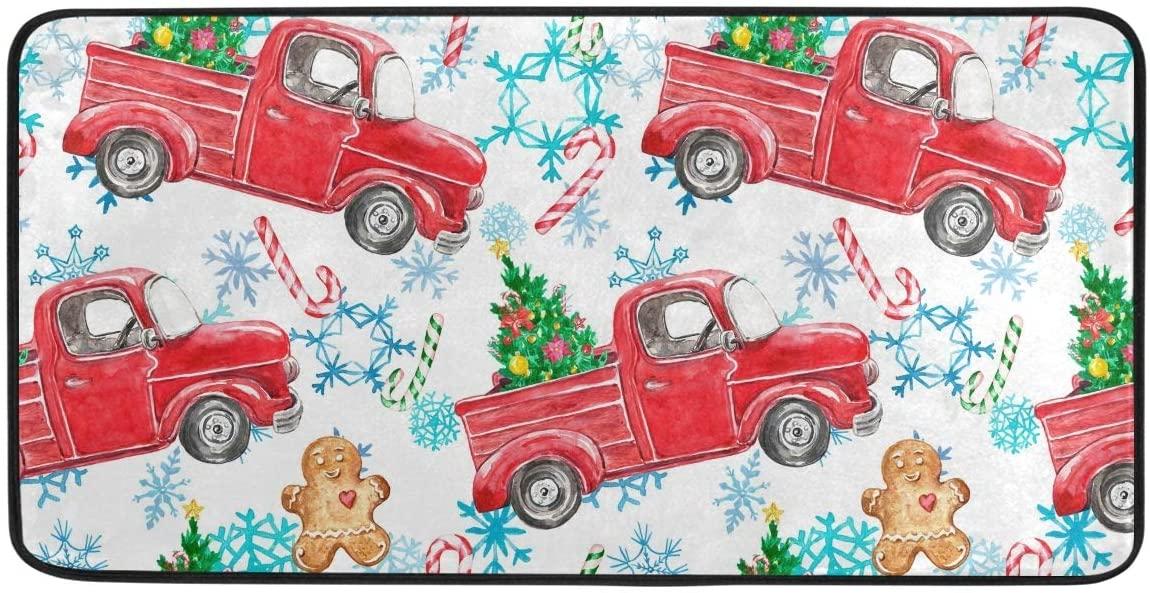 Christmas Truck Snowflakes Winter Kitchen Mat Rugs Cushioned Chef Soft Non-Slip Floor Mats Washable Doormat Bathroom Runner Area Rug Carpet,39