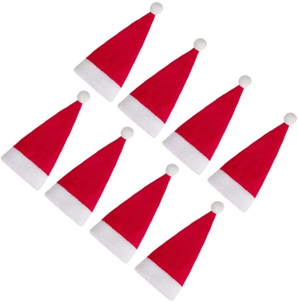 WINOMO 24pcs Mini Santa Claus Hat, Mini Christmas Santa Claus Hat for Christmas Silverware Holders, Candy Covers, Wine Bottle Decorations