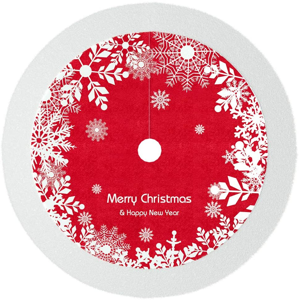 VersionTECH. Christmas Tree Skirt 48.8 inches, DIY Xmas Tree Decorations Ornaments Skirts with Snowflake-Themed Red and White for Christmas Holiday New Year Party Indoor Outdoor