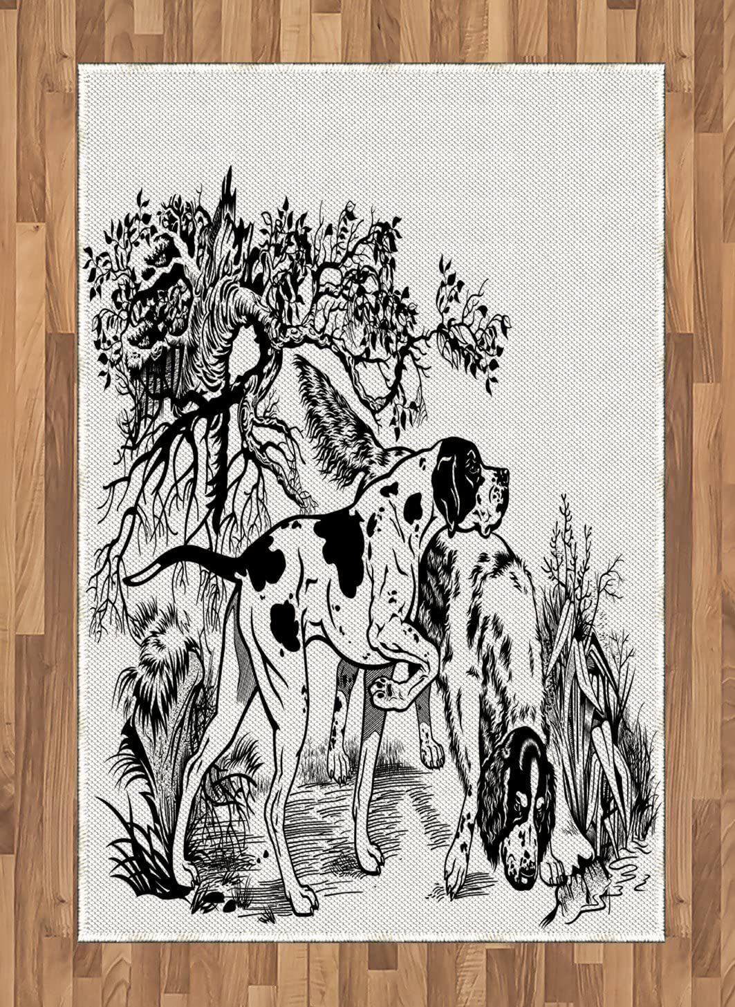 Ambesonne Hunting Area Rug, Hunting Dogs in The Forest Monochrome Drawing English Pointer and Setter Breeds, Flat Woven Accent Rug for Living Room Bedroom Dining Room, 4' X 5.7', Black White