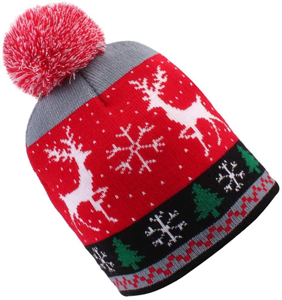 KESYOO Christmas Knit Hat Wool Santa Snowflake Deer Warm Hat Cartoon Christmas Beanie for Baby Kids