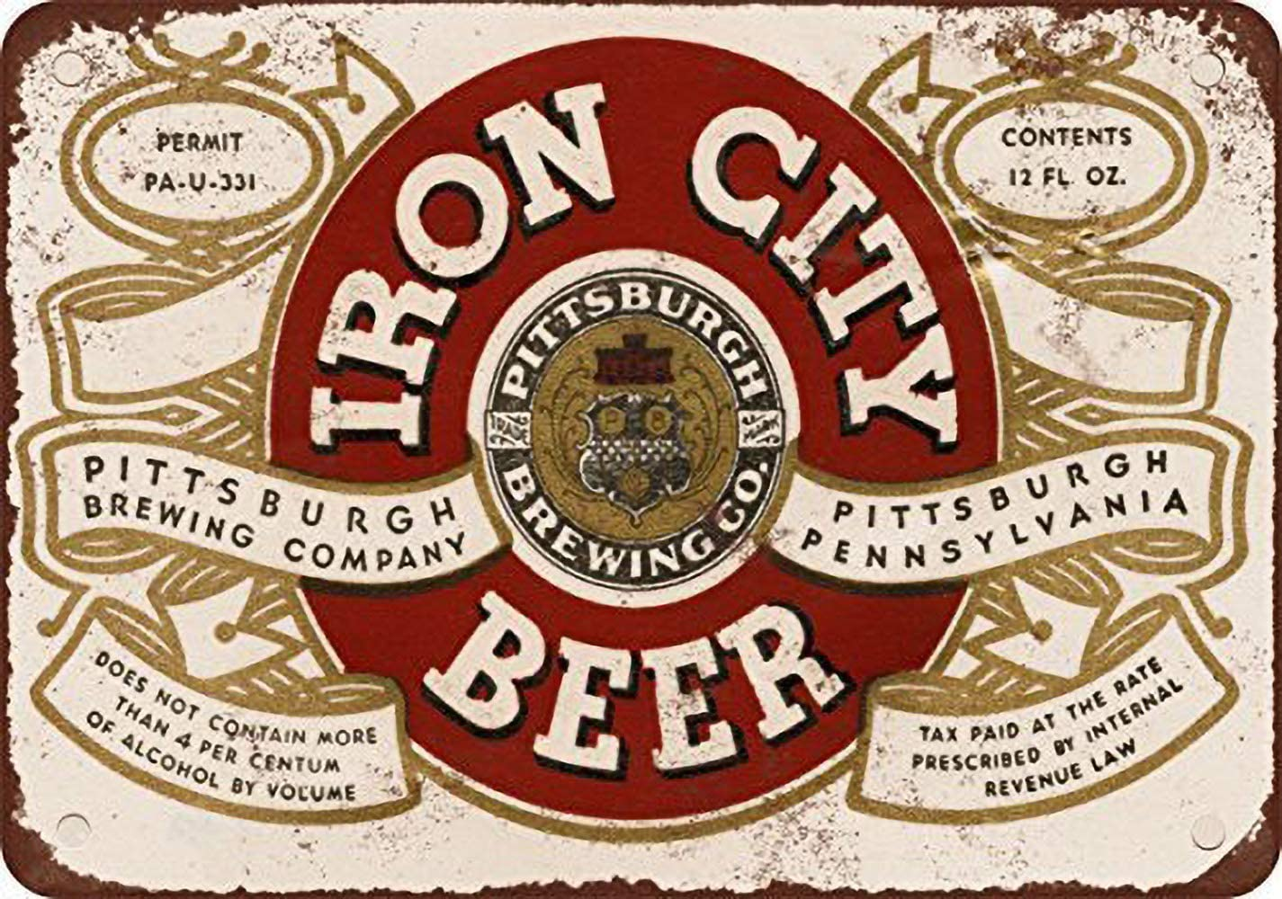 TSHOME Iron City Beer New Metal Tin Sign Retro Vintage Aluminum Sign for Home Coffee Wall Decor Bar Pub and Man CaveInches Shabby Chic 8x12inch