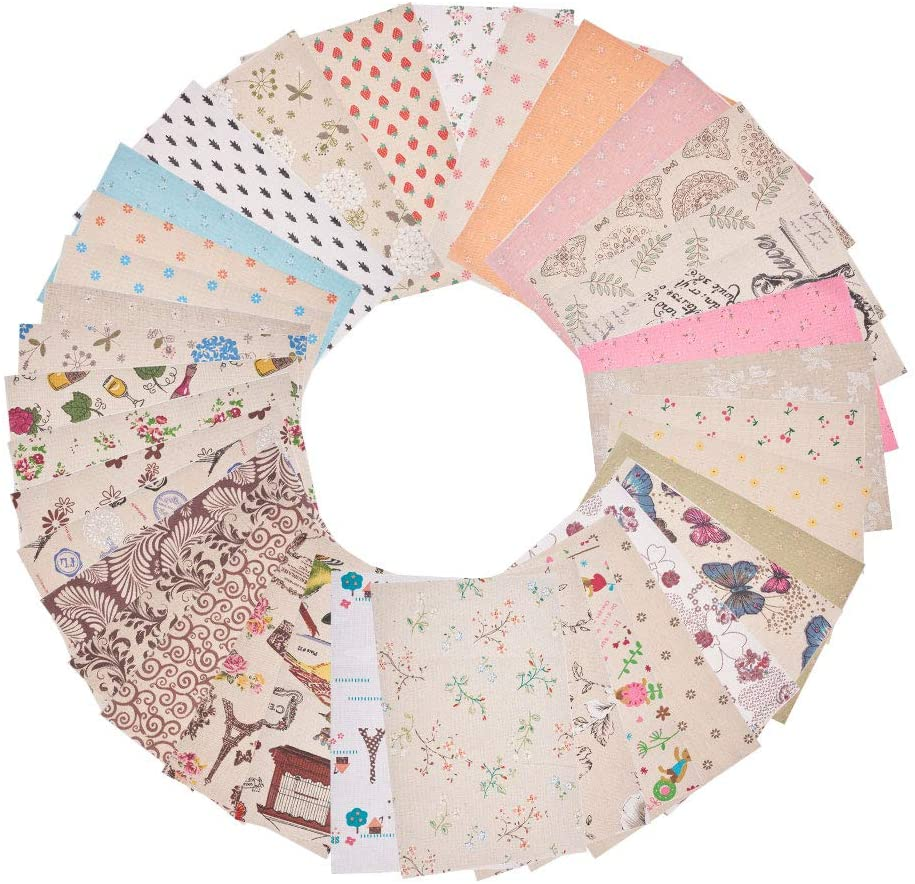 WANDIC Quilting Fabric, 36 Pcs Different Design Printed Cotton Floral Quilting Fabric Square Sheets for Craft Patchwork, DIY Sewing Scrapbooking