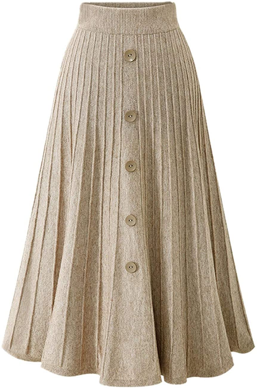 GGUHHU Womens Elegant Stretched High Waist Button Down A-Line Pleated Knitting Long Skirts