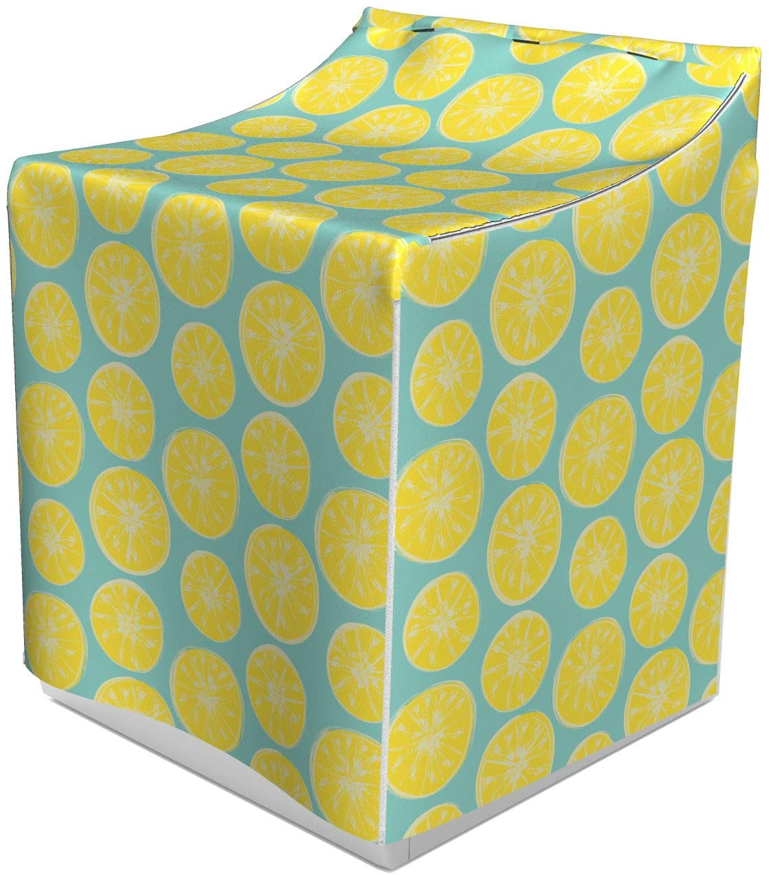 Lunarable Yellow and Blue Washer Cover, Citrus Pattern in Hand Drawn Style Watercolor Grunge Lemon Slices, Dust and Dirt Free Decorative Print, 29