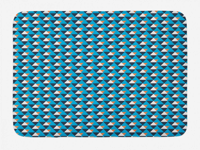 Lunarable Modern Bath Mat, Pattern of Diagonal Triangles in, Plush Bathroom Decor Mat with Non Slip Backing, 29.5