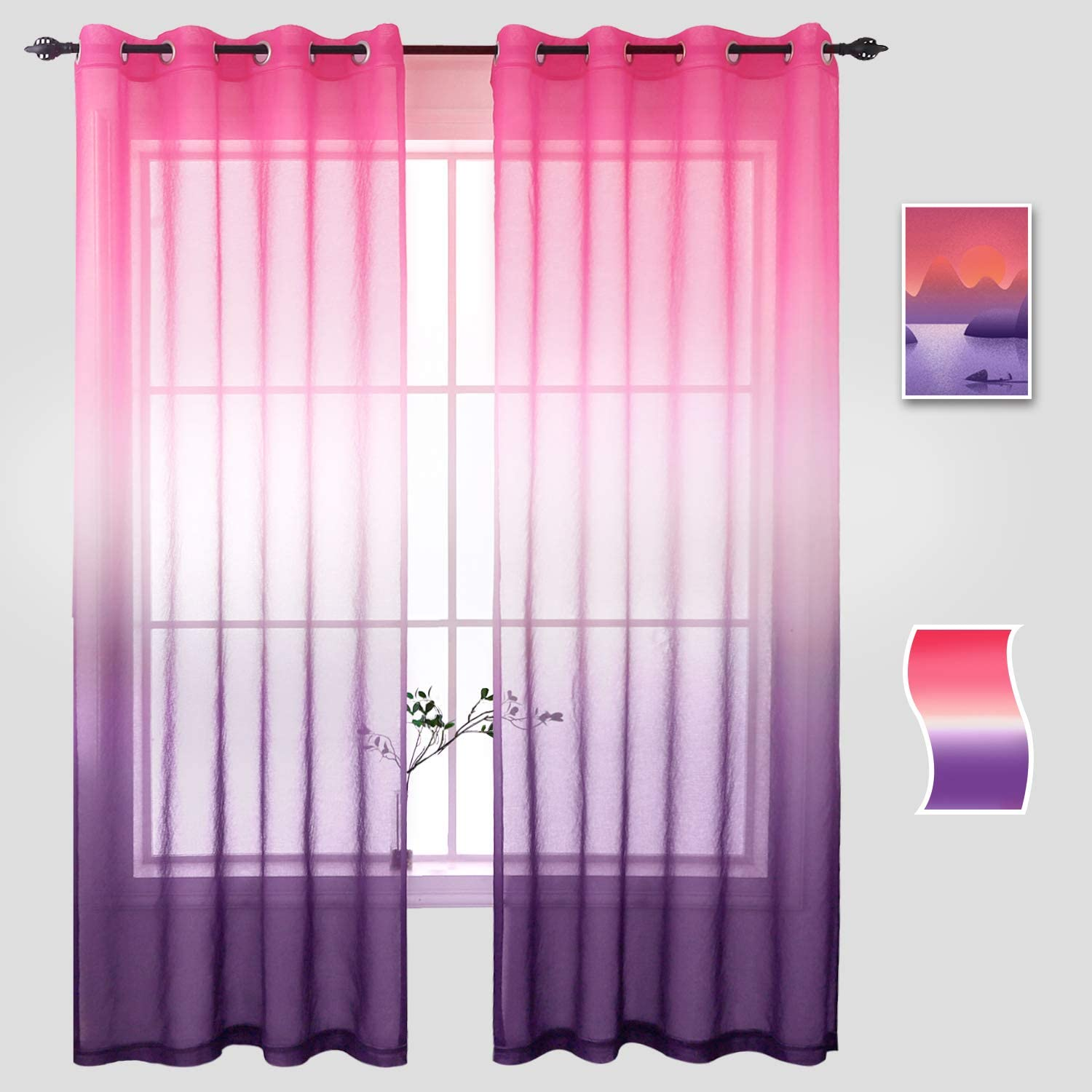 Naturoom Girls Purple Curtains for Bedroom, Ombre Semi Sheer Voile Light Filtering Window Curtain Grommet Panels for Living Room & Dining Room - 54 W x 63 inch Long