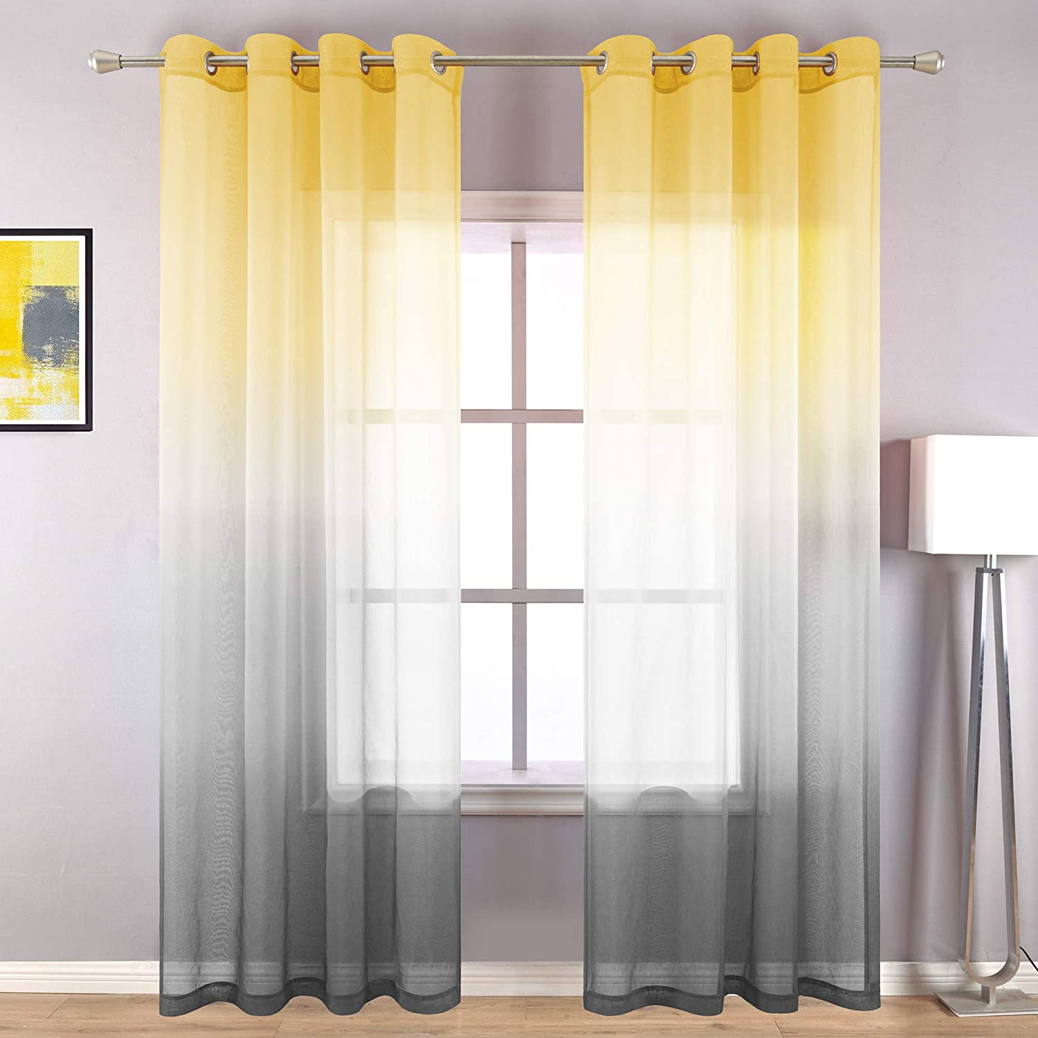 Yellow Curtains 96 Inches Long for Living Room Set of 2 Panels Grommet Drapes Window Sheer Curtain Panel for Bedroom Dining Room Yellow and Grey Gray 52x96 Inch Length