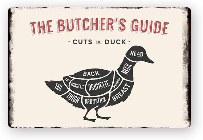 Modern Vintage Metal Tin Signs The Butchers Guide Cuts of Duck ! Wall Plaque Poster Cafe Bar Pub Beer Club Wall Home Decor 8x12 inches