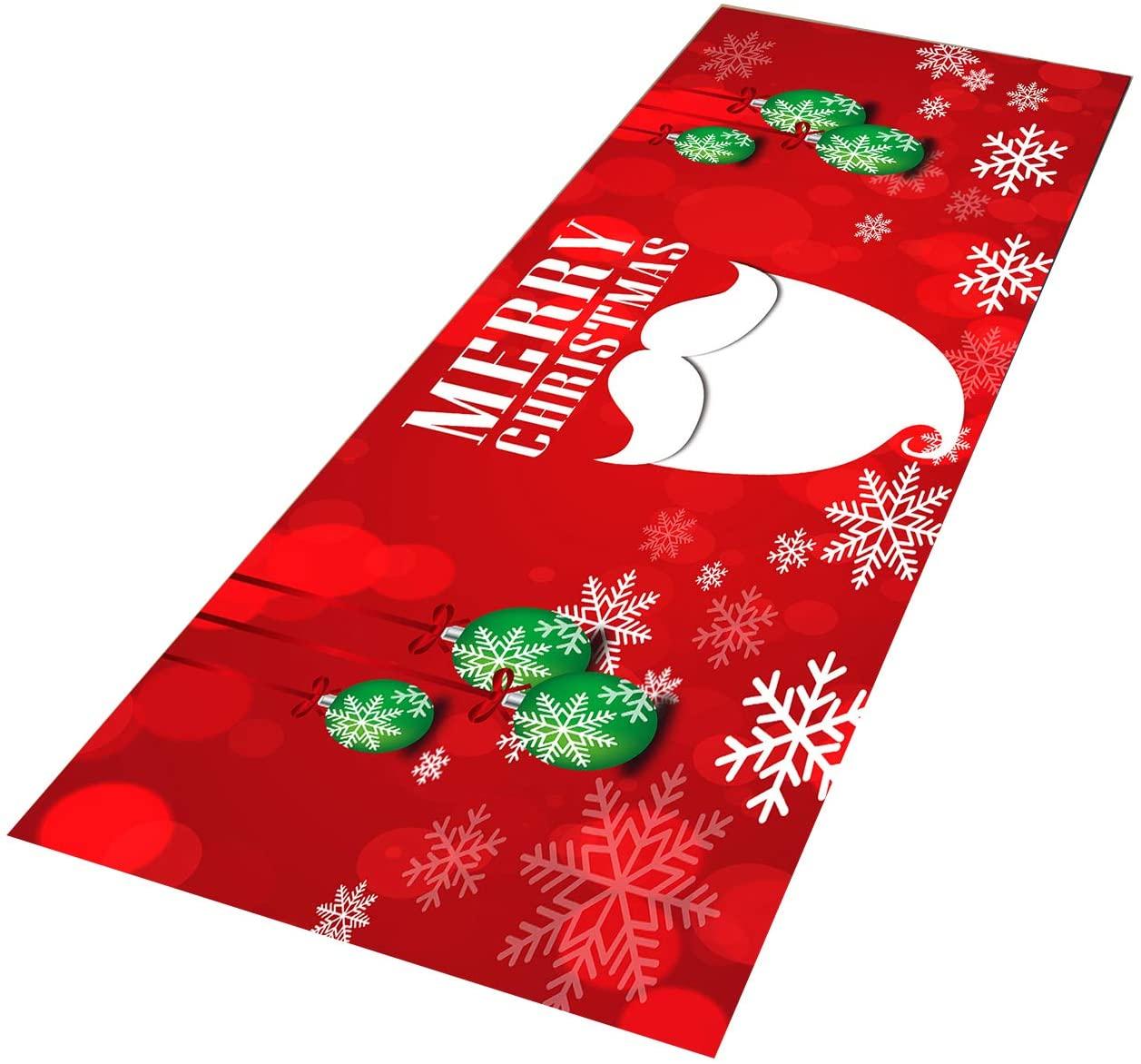 Crafttable 2 Pieces Merry Christmas Kitchen Rug Set, Anti-Fatigue Kitchen Floor Mat, Non Slip Standing Carpet, 15.7x23.6+ 15.7x47.2 in, 12