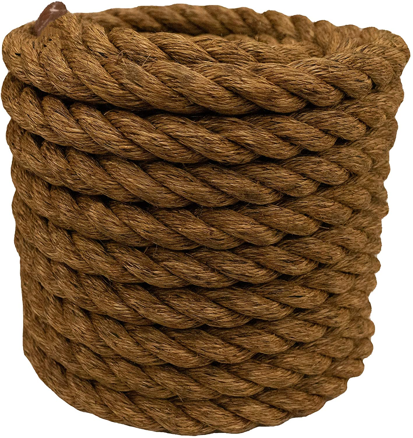 Manila Rope | Treated Natural Fiber | 3 Strand Twisted | Indoor or Outdoor Decorative Projects | 3/4 inch x 50 feet