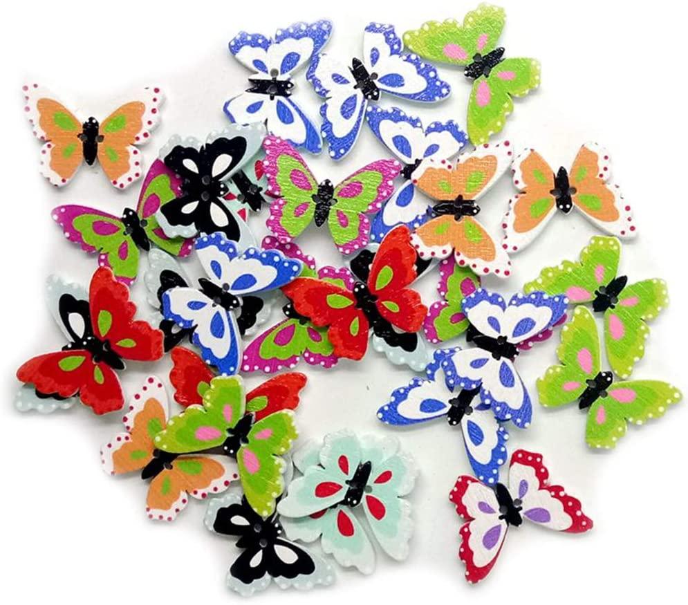 hbz11hl Wooden Buttons 50Pcs Butterfly Shape 2 Holes Sewing Accessory Scrapbooking Decor Mix Color