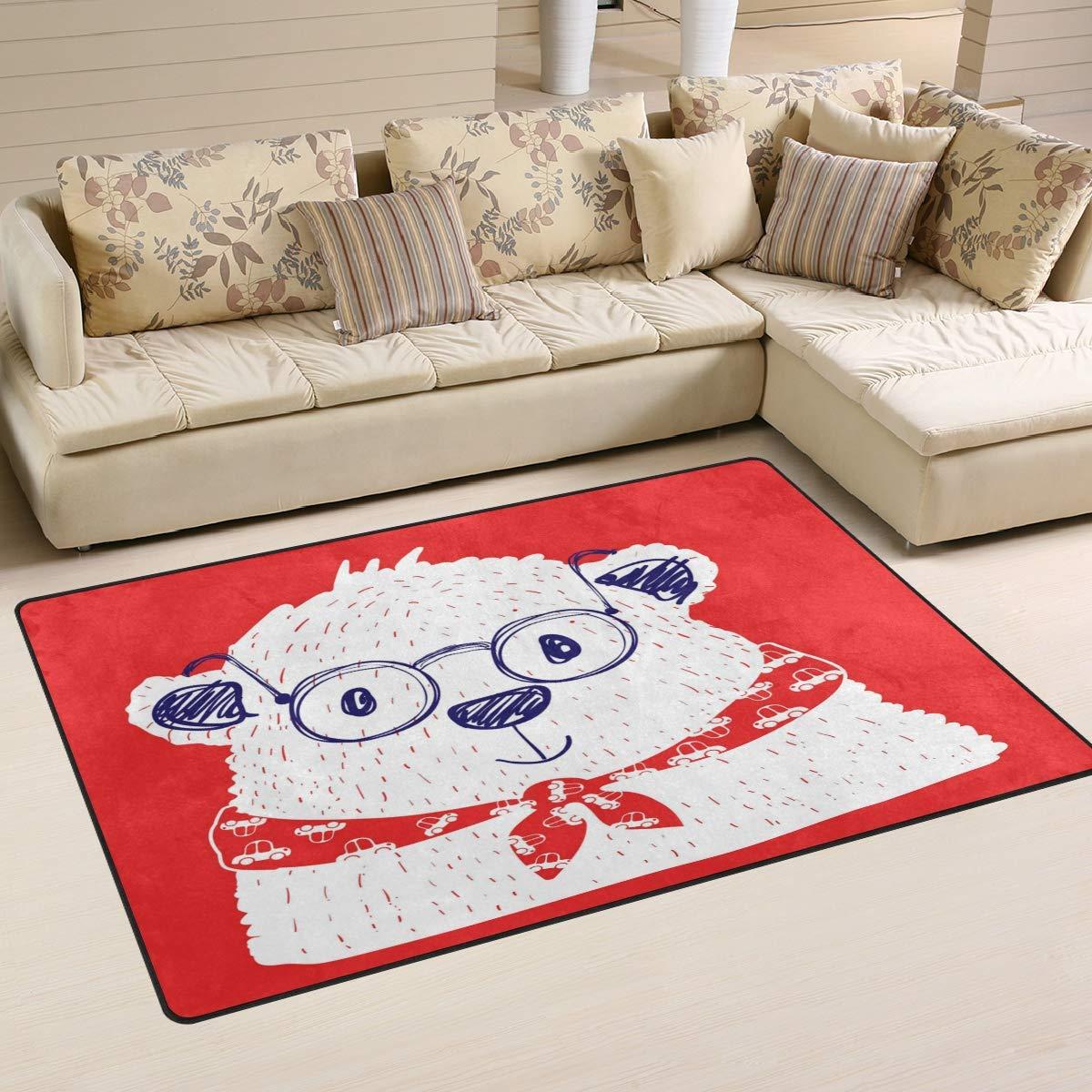 ALAZA Home Decor Little Polar Bear On Red Area Rug Carpet, Rugs Floor Carpet Mat Living Room Carpet for Girl's Room Home Indoor Decor 3'x5'