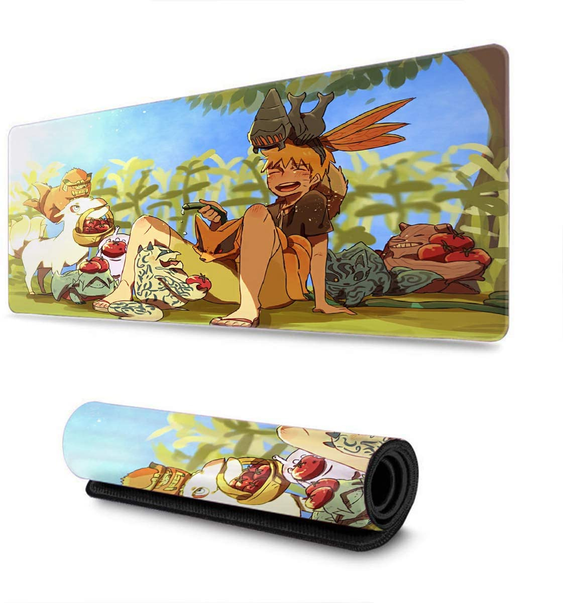 Extended Size Professional Gaming Mouse Pad Professional Gaming Mouse Pad for Uzumaki Naruto Sakura, Custom Design Stitched Edges Ultra Thick 3mm-11.8x31.5x0.2 in