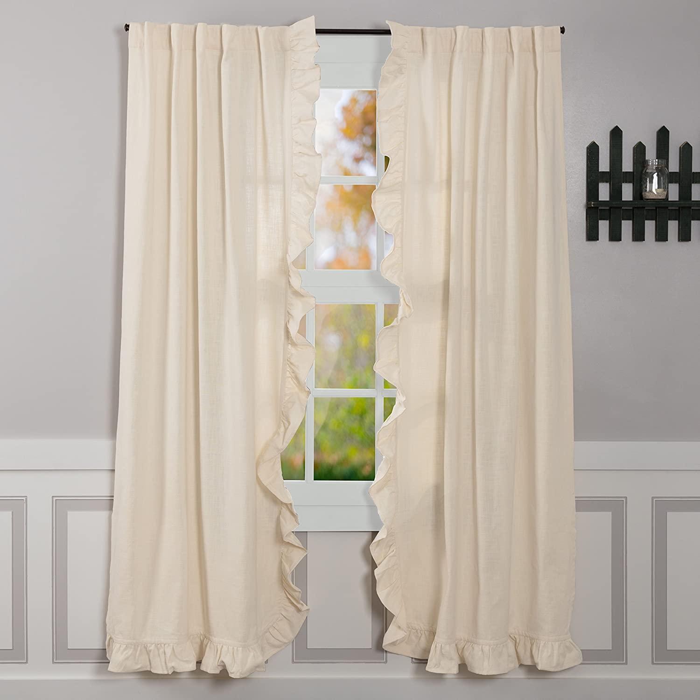 Piper Classics Ashley Natural Ruffled Panel Curtains, Set of 2, 84