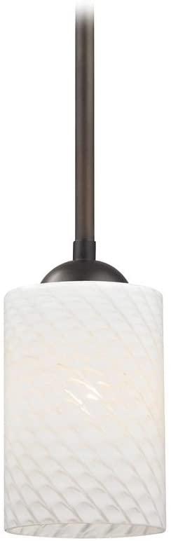 Modern Mini-Pendant Light with White Cylinder Art Glass Shade