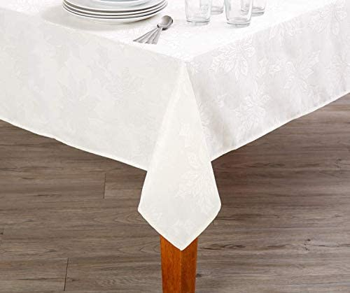 Esoteric Maven Elegant Ivory Poinsettia Tablecloth | Winter Wonderland Holiday Collection (60 in. x 84 in.)