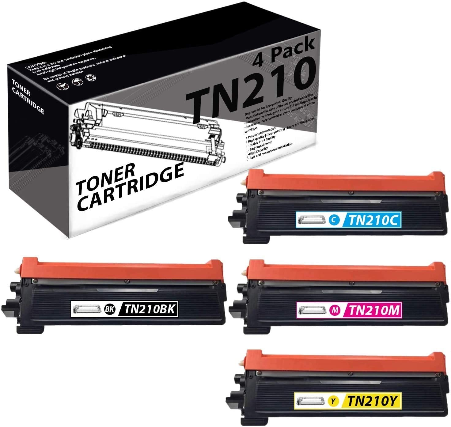 TN210(4 Pack-1K+1C+1M+1Y) Compatible Toner Cartridge Replacement for Brother DCP-9010CN HL-8070 8370 3040CN MFC-9010CN 9120CN 9320CN/CW Printers.