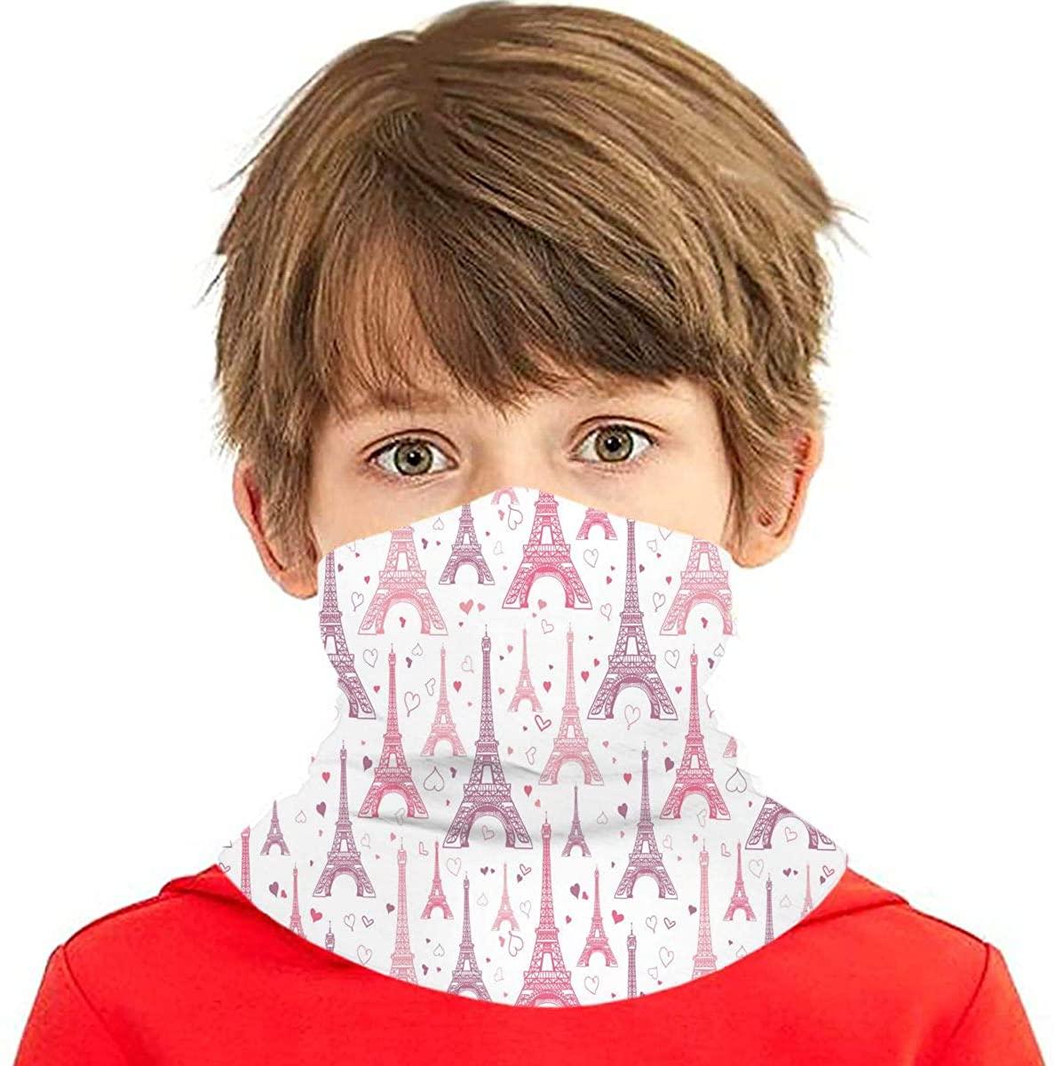 Dujiea Kids Bandanas Face Mask, Pink Eiffel Tower Dust Sun UV Protection Neck Gaiter Multifunctional Balaclava Face Scarf Summer Tube Headband Lightweight for Boys Girls Outdoors