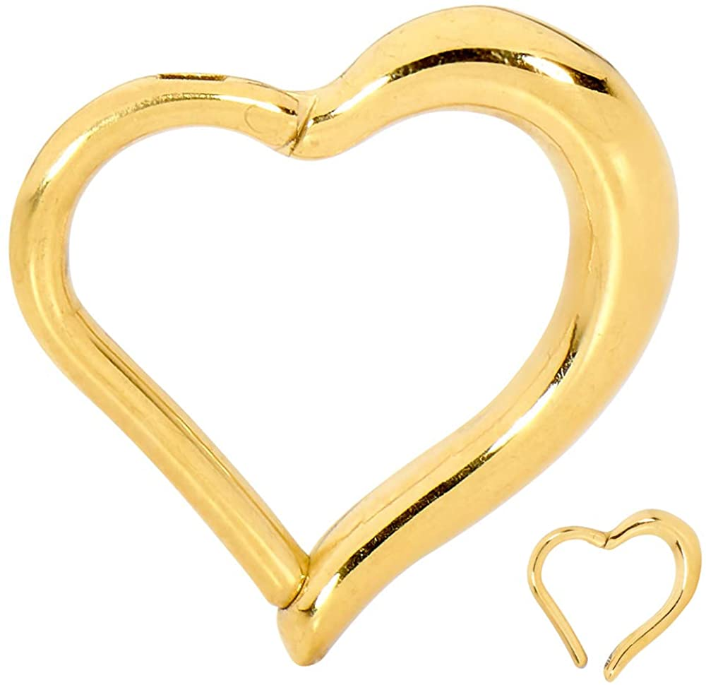 365 Sleepers 316L Surgical Steel 16G Hinged Heart Segment Ring Body Piercing - Sold Individually